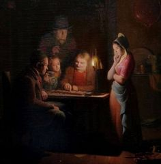Rosierse, Johannes (b,1818)- Playing Checkers by Candlelight -2d