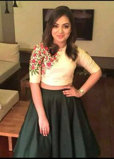 Nazriya nazim in pranaah ball skirt and crop top Indian Gowns, Indian Attire, Indian Outfits, Indian Wear, Indian Clothes, Long Skirt And Top, Long Skirt Top Designs, Lehenga Designs, Indian Designer Wear