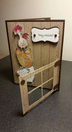 handmade greeting card ... three chicken stack up ... clever swinging gate ... fun card! ... Stampin' Up!