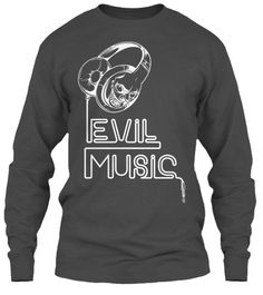 Evil Music T Shirts Charcoal Long Sleeve T-Shirt Front