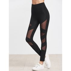 SheIn(sheinside) Black Mesh Insert Striped Leggings ($13) ❤ liked on Polyvore featuring tops and black