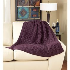 Trailing Leaves Afghan - This absolutely beautiful afghan is easy to knit in one piece. Kit includes Mary Maxim Best Value yarn. Shown in Merlot. Knitting Stitches, Knitting Patterns Free, Free Knitting, Crochet Patterns, Knitting Ideas, Knitted Afghans, Knitted Blankets, Afghan Blanket, Baby Blanket Crochet
