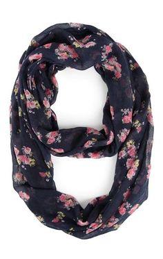 Deb Shops Floral Print Infinity Scarf $9.00