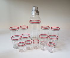 Vintage Barware Glass Cocktail Shaker Set Art Deco by Glass Cocktail Shaker, Retro Vintage, Vintage Items, Wash N Dry, Shot Glasses, Deco, Carafe, Cocktails, Canning
