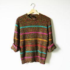Delicious Rainbow Stripe Vintage Sweater / Retro Pullover