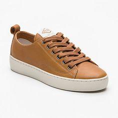 Sneakers à semelles compensées Ganama Cash, cuir camel semelle : 3,5 cm