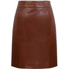 Kaliko Leather Skirt, Tan (275 BRL) ❤ liked on Polyvore featuring skirts, mini skirts, bottoms, mini skirt, brown leather skirt, leather mini skirt, a line skirt and tan leather skirt