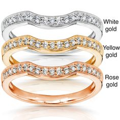 "Annello 14k Gold 1/6ct TDW Diamond Curved Wedding Band (H-I, I1-I2) - Round diamond Wedding Band14k-karat white, yellow, or rose gold - for my ""stack"" I need a band for each kid."