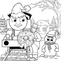Thomas Train Christmas Coloring Pages