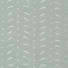 Duck Egg Blue Feathers Linen Fabric - 340