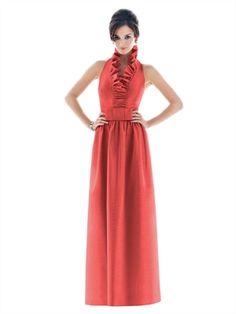 A-line V-neck With Belt Orange Bridesmaid Dress BD0320  Orange Dress #2dayslook #watsonlucy723 #OrangeDress  www.2dayslook.com