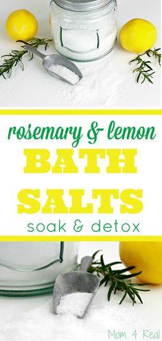 Rosemary Lemon Bath Salts – Soak and Detox – Mom 4 Real - Detox bath Diy Bath Salts With Essential Oils, Lemon Essential Oils, Doterra, Bath Salts Recipe, Diy Bath Salts Lemon, Diy Green Tea Bath Salts, Homemade Bath Salts, Homemade Deodorant, Homemade Soaps