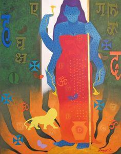 Dolna code: RKS002 Feminity 13 by Ranjit Singh Kurmi. Acrylic on canvas, 42 x 32(inches) Price INR 75,000