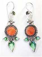 Vanessa Mellet carnelian and peridot earrings with three-leaf, enameled design