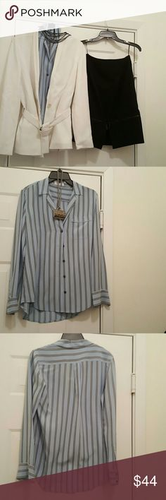 Equipment Femme striped long sleeve blouse xs Beautiful light blue and black striped silk blouse. Great condition.  However,  small spot at wrist seen in pic equipment Femme  Tops Blouses