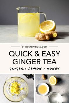 An easy way to make ginger tea with lemon and honey to warm up during the chillier months. Give your immune system a boost with this infusion. Shot Recipes, Tea Recipes, Yummy Drinks, Healthy Drinks, Ginger Lemon Honey Tea, High Tea Food, Ginger Shot, Lemon Detox, Keto Drink