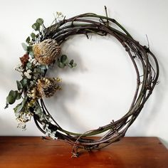 Getting creative with foraged invasive vines and dried natives, what do you think? wreaths shouldn't just be for Christmas Aussie Christmas, Australian Christmas, Natural Christmas, Dried Flower Wreaths, Vine Wreath, Dried Flowers, Christmas Crafts, Christmas Decorations, Faux Flowers