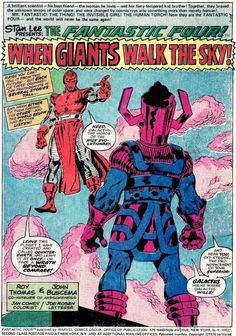 "Fantastic Four # 175 ""When Giants Walk the Sky!"" features a battle on Counter-Earth between the planet-devouring Galactus, and the High Evolutionary."