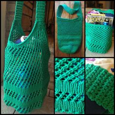 Knit tote bag using Lily Sugar 'n Cream cotton yarn in Mod Green.  This knits pretty quickly and the crochet strap is simple as well.  I didn't think it was going to be very big, but it stretches a lot!  Would be good for a tote or grocery bag!  Free pattern from Ravelry.