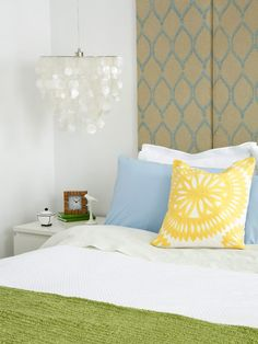 Bedroom Decorating Ideas: Spring Awakening  Fresh hues—grass green, sky blue and sunny yellow—bring to mind a bright, clear day.