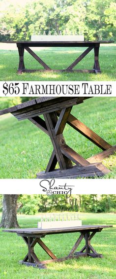 DIY Antropologie Inspired Fancy X Farmhouse Table {gorgeous harvest table!} For a nice picnic table for the backyard Diy Dining Table, Diy Farmhouse Table, Farmhouse Windows, Outdoor Dining, Farmhouse Furniture, Farmhouse Plans, Rustic Outdoor, Farmhouse Chic, Outdoor Tables