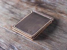 Leather Money Clip Wallet PERSONALIZED Wallet Money by JooJoobs