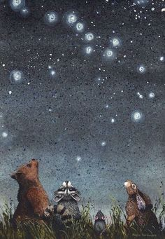 """Watercolor print, constellations by Maggie Vandewalle, 8 """"x matted to fit an 11 """"x frame - For this article Constellations is an print by watercolor artist Maggie Vandewalle. Animal Art, Drawings, Fantasy Art, Watercolor Print, Whimsical Art, Illustration Art, Art, Pictures, Beautiful Art"""