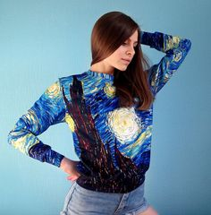 Womens female full printed sweatshirt The Starry Night ONME Sweatshirts are comfortable and cozy. Ideal for spring-winter, winter and winter-autumn periods. Made in Ukraine.  Sizes: XS, S, M, L, XL, XXL Sex: Female, male. Print on the back same.  Material: Fabric sandwich - light cloth with a cotton layer. Composition: cotton – 50%, polyester – 50% Elastane - soft stretch fabric composed with fleece lining and polyester.  Be accurate in viewing the size table before making an order to avoid…