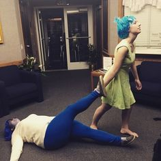 Joy and Sadness from Inside Out: | 35 Borderline Genius Halloween Costumes For Movie Lovers