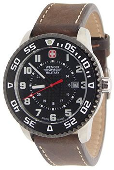 Wenger Swiss Military 79284C Roadster Steel Watch Brown Leather Strap. 43mm Case Size. 22mm Strap Size. 100 meters Water Resistant. Genuine Leather Strap. Unidirectional Movement Bezel With Luminous Marker and Hands.