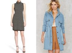Only have a few minutes to pull together a knockout look? Pair a striped sweater dress with a denim trench coat + you've nailed it.