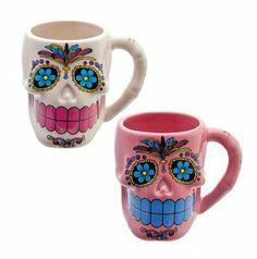 Mexican Sugar Skull Mug Day of the dead/Día de los Muertos/cute/candy/kitsch/cup