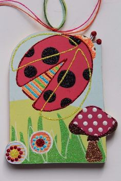 Woodland Ladybug Signed Lichtenstein Wood Easter Christmas Ornament Handmade