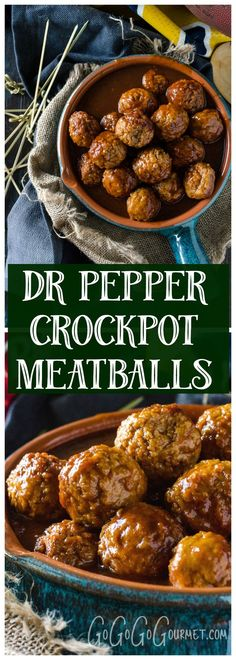 Crockpot meatballs are great for tailgate parties, and the sweet and tangy Dr Pepper sauce on these is really out of this world! @gogogogourmet