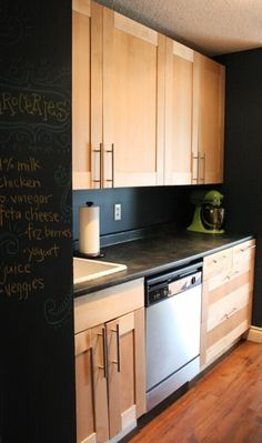 Chalkboard wall in the kitchen... thinking about doing this in my kitchen right now!