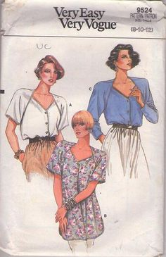 MOMSPatterns Vintage Sewing Patterns - Vogue 9524 Vintage 80's Sewing Pattern NEAT SEAMS Very Easy Shaped Neckline Raglan Sleeve Front Buttoned Blouse, Tunic Top Size 8-12
