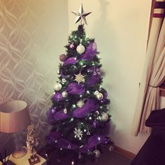 My deco mesh Christmas tree 💜
