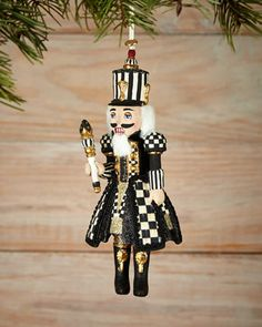 Courtly Check Nutcracker Christmas Ornament by MacKenzie-Childs at Neiman Marcus. Nutcracker Christmas Decorations, Nutcracker Ornaments, Xmas Decorations, Nutcracker Costumes, Noel Christmas, Christmas Tree Ornaments, Christmas Crafts, Cheap Christmas, White Christmas