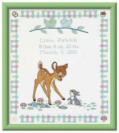 $15.99 BAMBI BIRTH ANNOUNCEMENT. Thumper, Flower and sweet Bambi welcome the new baby with this 12 x 13 birth record. All kits include directions, floss and needles. The counted cross-stitch birth record includes 14-ct white Aida cloth and chart. Disney. SALE was 19.99, now only 15.99! Part Number: 40741.