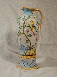 Olive oil bottle in the Montelupo pattern, really pretty and different tree and bird pattern