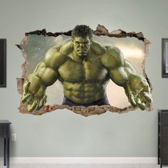 HULK 3d Wall Sticker Smashed Bedroom Green door SuperTopWallDecals