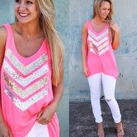 Wish | Women Sequin Chevron Vest Top Sleeveless Blouse Casual Tank Tops T-Shirt