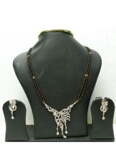 Off White and Black Stone Studded Mangalsutra