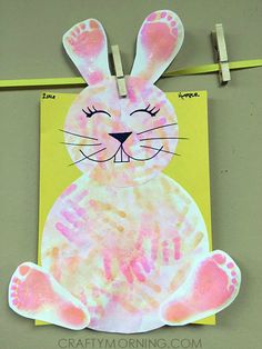 Footprint/Handprint Easter Bunny Craft for Kids - Crafty Morning