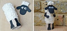 Manualidades con tubos de papel higiénico: La oveja Shaun Crafts with toilet paper tubes: Shaun the sheep Diy Crafts For Kids, Projects For Kids, Art For Kids, Craft Projects, Arts And Crafts, Toilet Roll Craft, Toilet Paper Roll Crafts, Sheep Crafts, Yarn Crafts