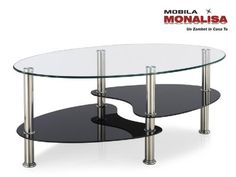 Clear Glass Top Coffee Table with Shelves in Black