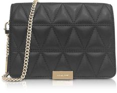 df59aa27327fc Michael Kors Jade Black Quilted-Leather Clutch Black Quilt