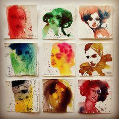 Rebecca Elfast  En serie små porträtt i akvarell och blyerts.