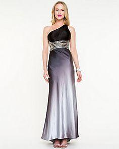 Satin Embellished Open Back Gown