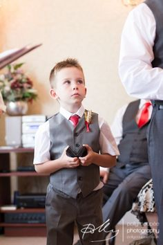 Pageboy style | Red tie | Grey waistcoat | Wheat buttonholes | Wedding inspiration | Polly Coupée Photography | Kent Wedding